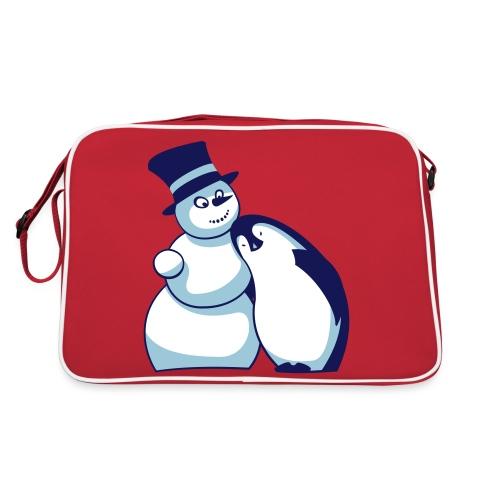 Schneemann und Pinguin - Retro Tasche