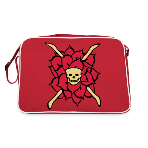 rose skull, tattoo style - Retro Tasche