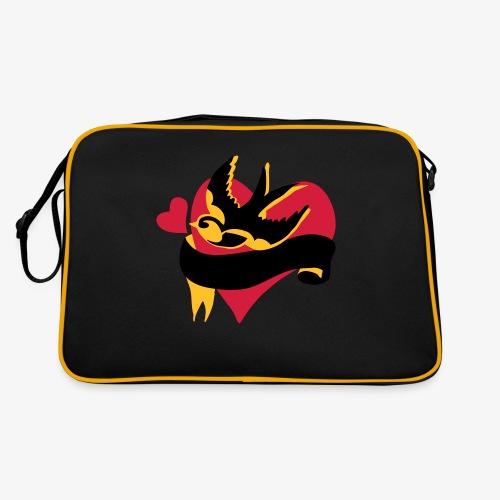 retro tattoo bird with heart - Retro Bag