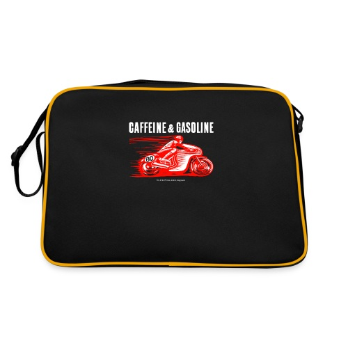 Caffeine & Gasoline white text - Retro Bag