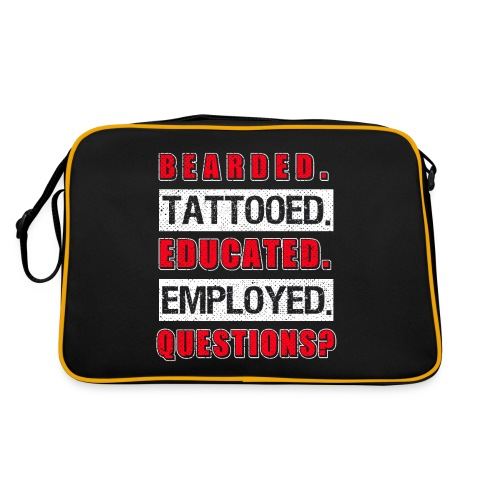 Bearded Tattoed Educated Employed Funny Gift - Retro Tasche
