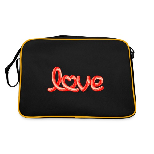 Love script with heart - Retro Tasche