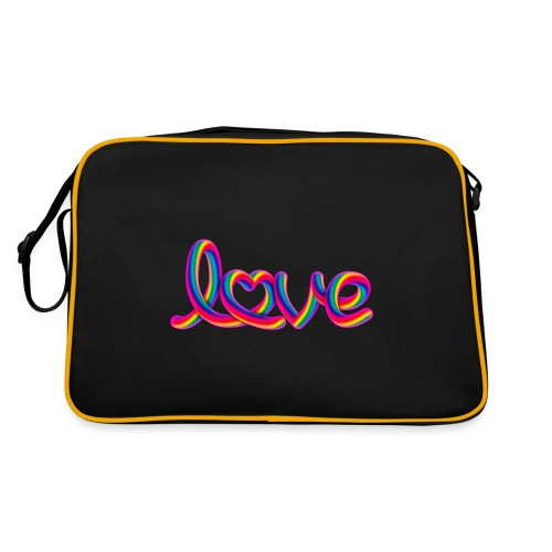Rainbow love script with heart - Retro Tasche