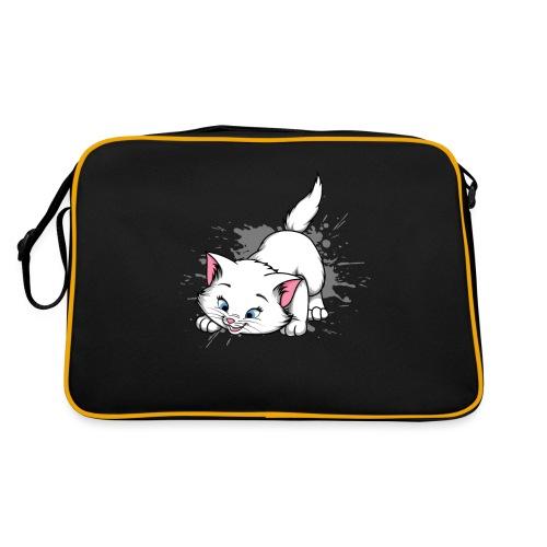 Katze Splash Pfützen Sprung - Retro Tasche