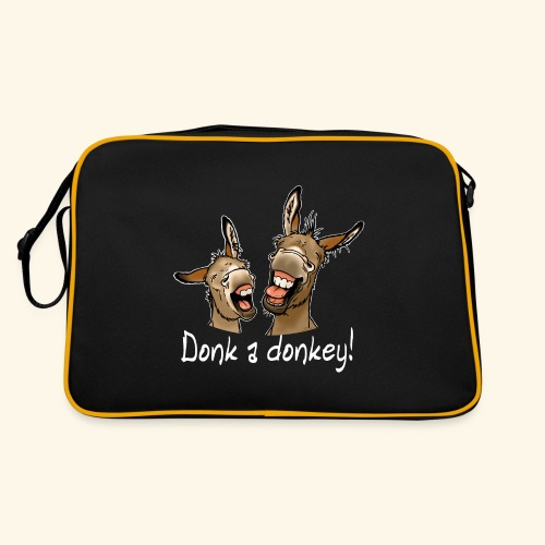 Ane Donk a donkey (texte blanc) - Sac Retro