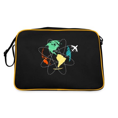 Reisen Weltreise Flugzeug Travelshirt Erde - Retro Tasche