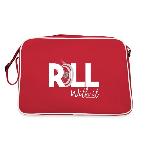 Amy's 'Roll with it' design (white text) - Retro Bag