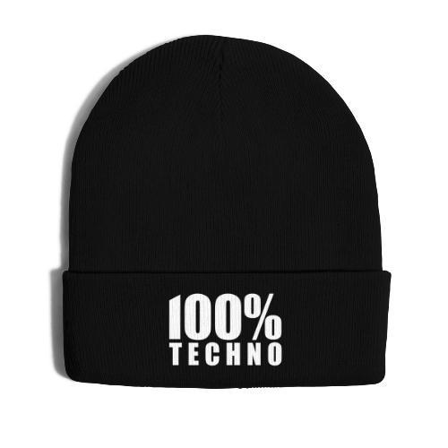 100% Techno Schriftzug Floorfreude Rave Festivals - Wintermütze