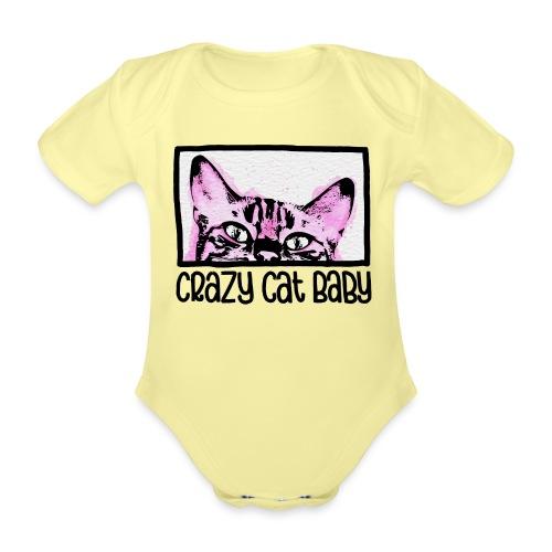 Crazy Cat Baby Girl - Baby Bio-Kurzarm-Body
