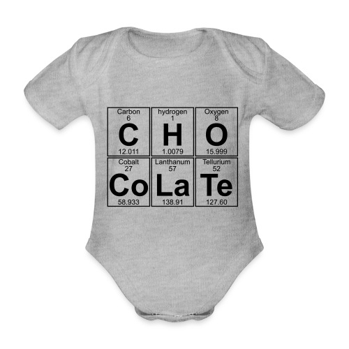 C-H-O-Co-La-Te (chocolate) - Full - Organic Short-sleeved Baby Bodysuit