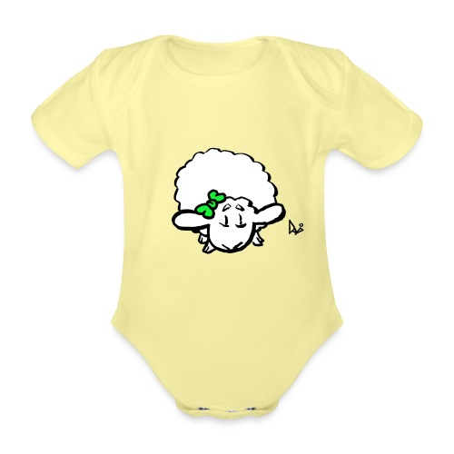Baby Lamb (green) - Baby bio-rompertje met korte mouwen