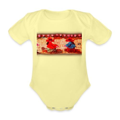 Dos Paisanitas tejiendo telar inca - Body orgánico de manga corta para bebé