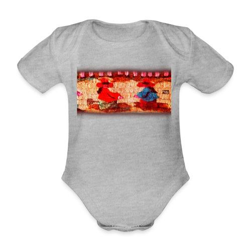 Dos Paisanitas tejiendo telar inca - Organic Short-sleeved Baby Bodysuit