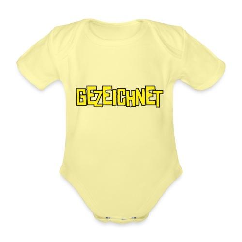 Gezeichnet Logo Gelb - Baby Bio-Kurzarm-Body