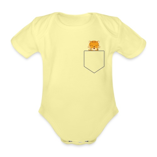 Lomme Tiger - Kortærmet babybody, økologisk bomuld
