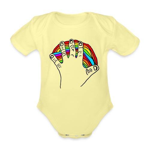 Anna's rainbow hand for peace - Økologisk kortermet baby-body
