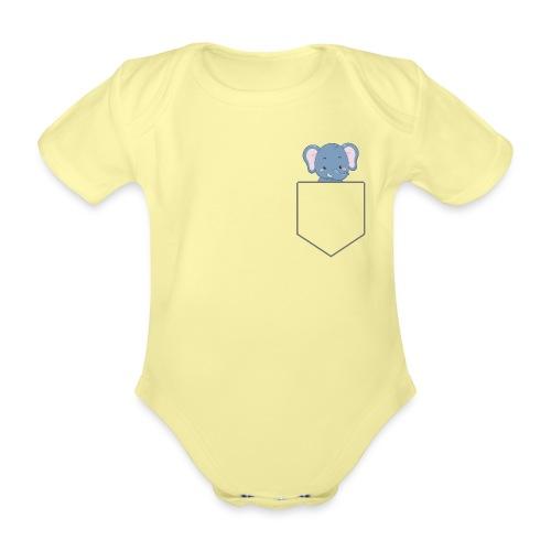 Lomme Elefant - Kortærmet babybody, økologisk bomuld
