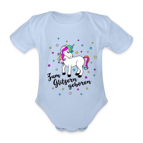 Zum Glitzern geboren Einhorn Baby Regenbogen - Baby Bio-Kurzarm-Body