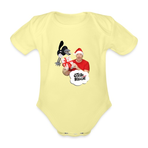 Merry Christmas with Steve and Maggie - Organic Short-sleeved Baby Bodysuit