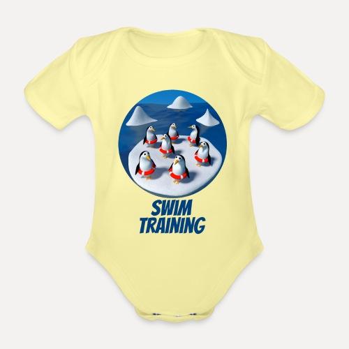 Pinguine beim Schwimmunterricht - Organic Short-sleeved Baby Bodysuit