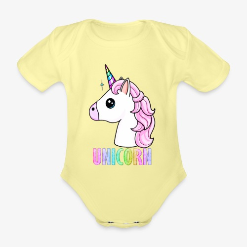 Unicorn - Body ecologico per neonato a manica corta