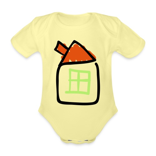 House Line Drawing Pixellamb - Baby Bio-Kurzarm-Body