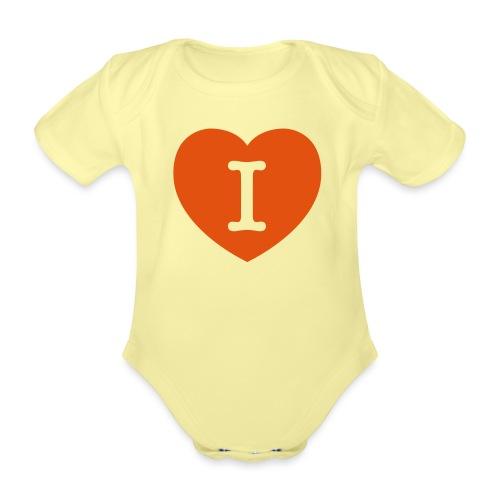 I - LOVE Heart - Organic Short-sleeved Baby Bodysuit