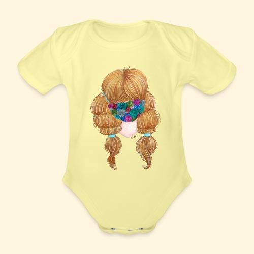 Fille masquée aux succulentes - Body Bébé bio manches courtes