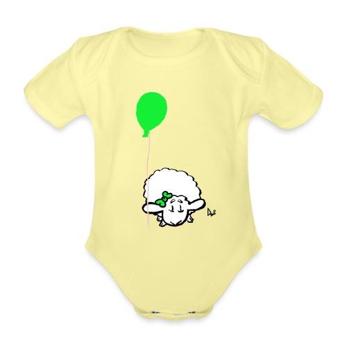 Baby Lamm mit Ballon (grün) - Baby Bio-Kurzarm-Body
