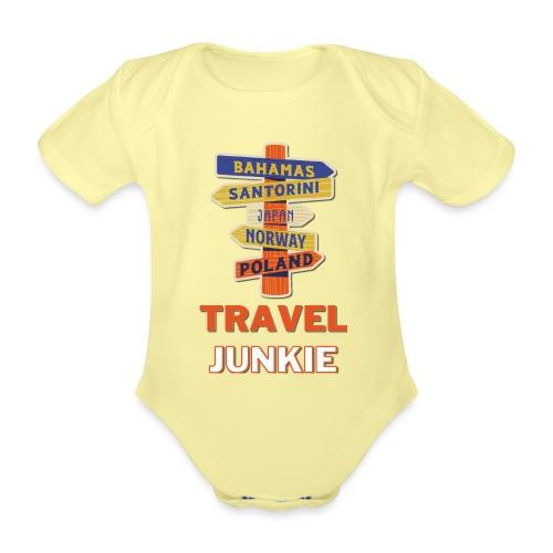 traveljunkie - i like to travel - Baby Bio-Kurzarm-Body