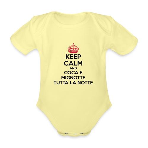 Coca e Mignotte Keep Calm - Body ecologico per neonato a manica corta