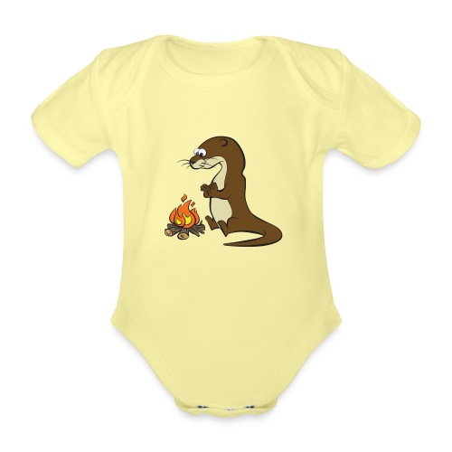 Song of the Paddle; Quentin campfire - Organic Short-sleeved Baby Bodysuit