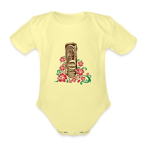 Tiki Totem with Hibiscus Flowers - Organic Short-sleeved Baby Bodysuit