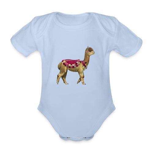 VINTAGE LAMA BLOEMEN - Baby bio-rompertje met korte mouwen