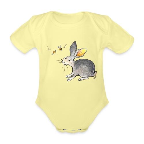 Der kleine Hase schaut sich um. - Baby Bio-Kurzarm-Body