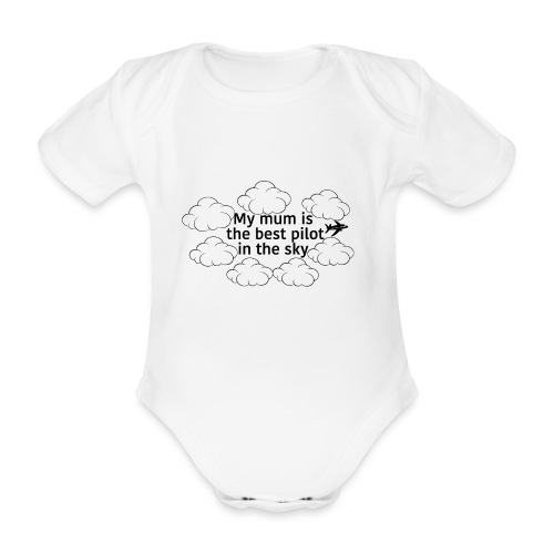 My mum black - Organic Short-sleeved Baby Bodysuit