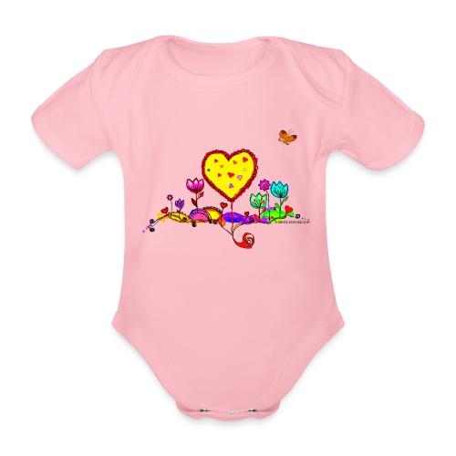 Blumengruß mit Herz - Baby Bio-Kurzarm-Body