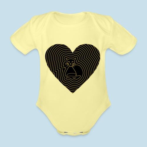 Katzen Herz Spirale 2 Färbig - Baby Bio-Kurzarm-Body