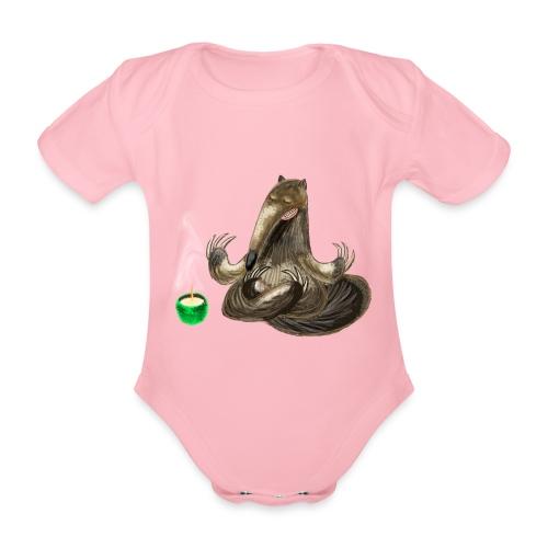 Meditating Ant eater design / print - Organic Short-sleeved Baby Bodysuit