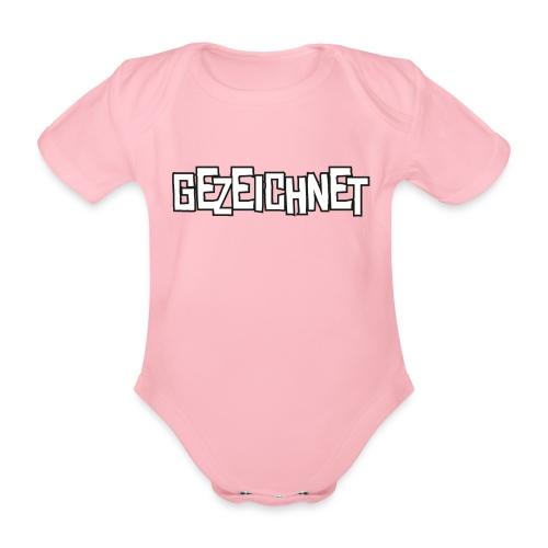 Gezeichnet Logo Weiss auf Transparent gross - Baby Bio-Kurzarm-Body