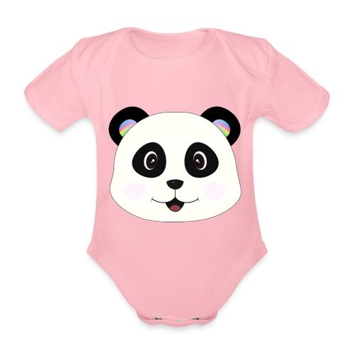 panda rainbow - Body orgánico de maga corta para bebé