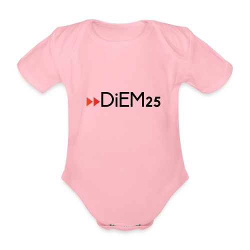 Official DiEM25 red-black logo - Organic Short-sleeved Baby Bodysuit