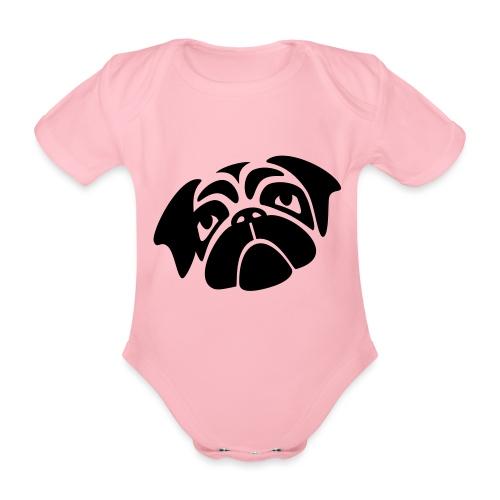 Mops mit schiefen Gesicht - Baby Bio-Kurzarm-Body