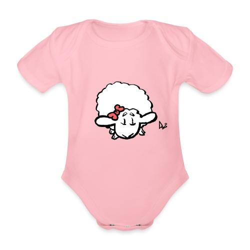 Baby Lamb (pink) - Baby bio-rompertje met korte mouwen