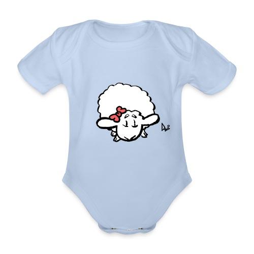 Baby Lamb (różowy) - Ekologiczne body niemowlęce z krótkim rękawem