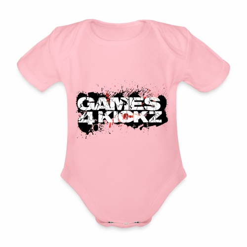 Games4Kickz Logo Splattered Background - Organic Short-sleeved Baby Bodysuit
