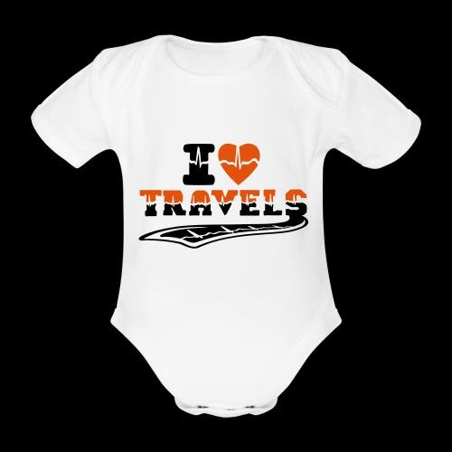 i love travels surprises 2 col - Organic Short-sleeved Baby Bodysuit