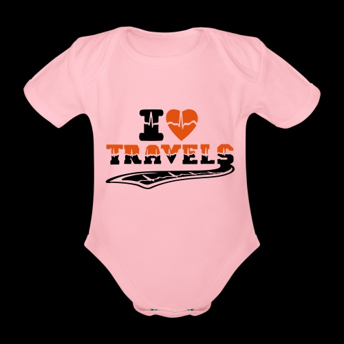 i love travels surprises 2 col - Organic Short-sleeved Baby Bodysuit