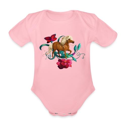 Kamelien Pony - Baby Bio-Kurzarm-Body