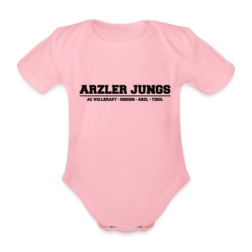 Arzler Jungs Schriftzug in Schwarz - Baby Bio-Kurzarm-Body